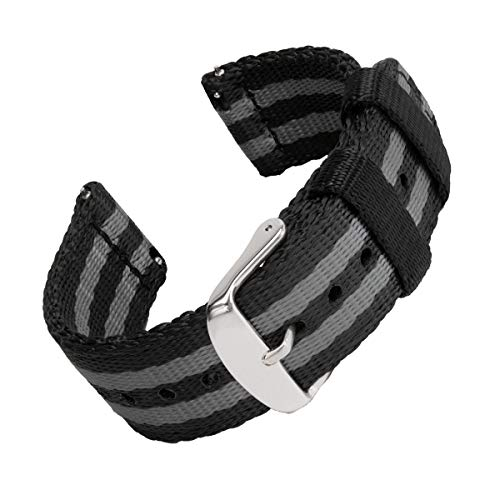 Archer Watch Straps Seat Belt Nylon Quick Release Watch Bands (Black/Gray, 20mm) ()