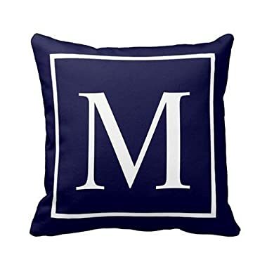 Customize monogram on navy blue pillow Personalized 18x18 Inch Square Cotton Throw Pillow Case Decor Cushion Covers