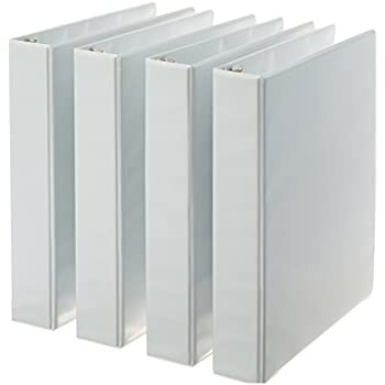 AmazonBasics 3-Ring Binder, 1.5 Inch Rings - 4-Pack (White)