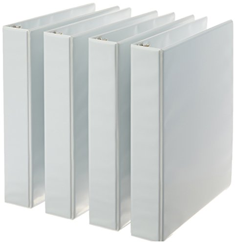 AmazonBasics 3-Ring Binder, 1.5 Inch Rings - 4-Pack (White) by AmazonBasics