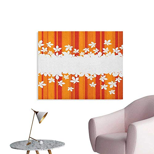 Anzhutwelve Orange Wallpaper Autumnal Color Vertically Striped Backdrop with Little Wildflowers Border Cool Poster Orange Marigold White W32 -