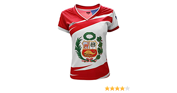 Arza Sports Peru and USA Women Jersey Color White//Red 100/% Polyester with V Neck