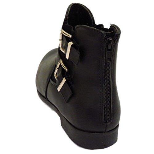 Damen Flach Schwarz Zip-Up Biker Knöchel Chelsea Pixie Stiefel Smart Arbeitsschuhe Größen 3-9