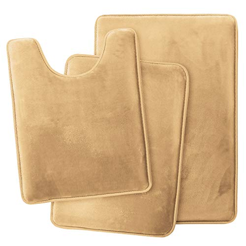 Clara Clark Memory Foam Bath Mat Ultra Soft Non Slip and Absorbent Bathroom Rug, Set of 3 – Small/Large/Contour – Camel…