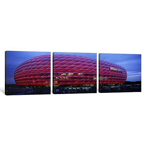 iCanvasART 3 Piece Soccer Stadium Lit up at Dusk, Allianz Arena, Munich, Germany Canvas Print by Panoramic Images, 36 x 12''/1.5'' Deep by iCanvasART