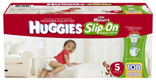 Huggies Little Movers Slip-On Diapers Mega Colossal Pack, Size 5, 108 Count by HUGGIES
