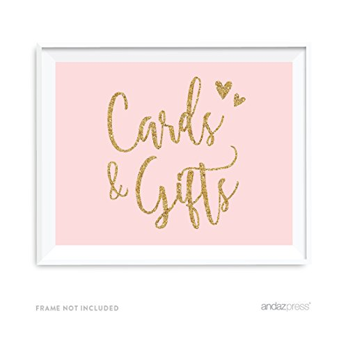 Andaz Press Blush Pink Gold Glitter Print Wedding Collection, Party Signs, Cards and Gifts Thank You, 8.5x11-inch, 1-Pack