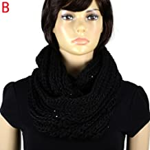 Fashion Winter Black Jewelry Scarf sequins yarn knitting stylish shawl NL-2054B