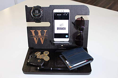 Personalized gift, Gift for him, Docking Station, Charging Station, iPhone dock, iPhone stand, cell phone stand, Desk Organizer, Android Docking Station, Christmas Gift, Father Gift, Husband Gift