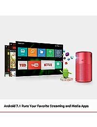 """Anker Capsule Smart Mini Proyector portátil de 100 lúmenes ANSI de alto contraste de cine de bolsillo con Wi Fi, DLP, altavoz de 360°, imagen de 100"""", Android 7.1, 4 horas de reproducción de vídeo y aplicación"""