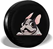 WSEDRF French Bulldog Spare Tire Cover Protective Waterproof Dust-Proof Universal Wheel Cover Fit for Trailer,