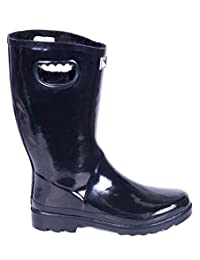 Women Rubber Rain Boots / Lined Warm Snow Boots w/ Faux-Fur Lining - Glossy Black