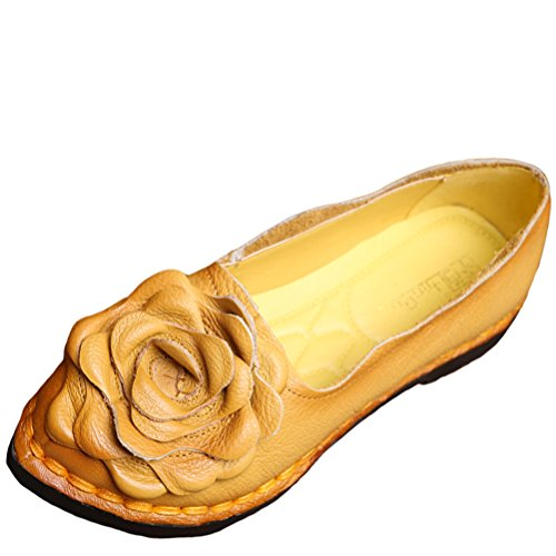 Mordenmiss Women's Fall New Flat Flower Pattern Shoes Style 5-40-Yellow - New Styles Shoes