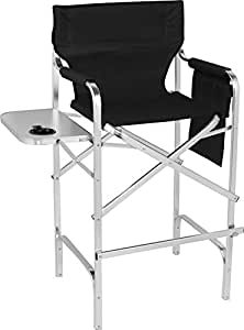 trademark innovations 45 aluminum frame tall metal director 39 s chair side table. Black Bedroom Furniture Sets. Home Design Ideas