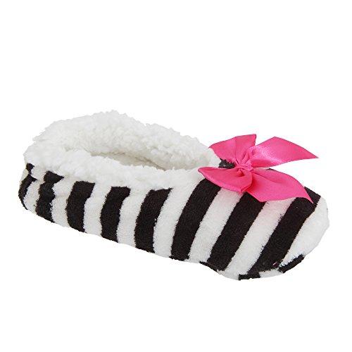 Zapatillas de estar por casa de polar con estampado de rayas para mujer Morado/rosa