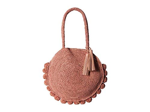 Loeffler Randall Women's Large Straw Circle Tote Bag, Ballet, Pink, One Size