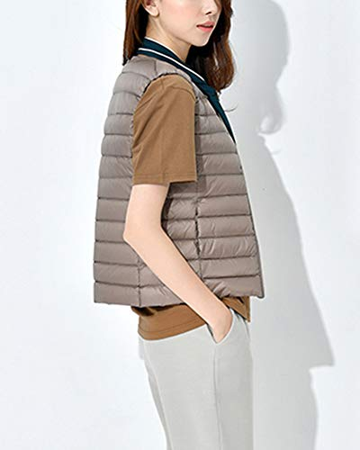 Lightweight Collarless Warm Vest GladiolusA Jacket Women Camel Packable Coat Winter Sleeveless XHExCOqw4