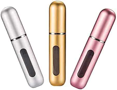 Portable Mini Refillable Perfume Empty Spray Bottle Atomizer Pump Case for Traveling and Outgoing 3 Pcs Pack of 5ml