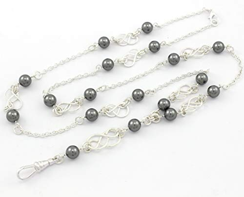 (Brenda Elaine Jewelry | Real Silver Plate | Women's Fashion Lanyard Necklace for ID Badge Holders | 32 Inch Silver Chain with Silver Celtic Knots and Dark Gray Swarovski Pearls & Rear Lobster Clasp)