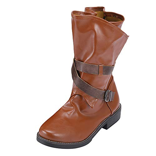 COPPEN Women Boots Medium Military Buckle Artificial Leather