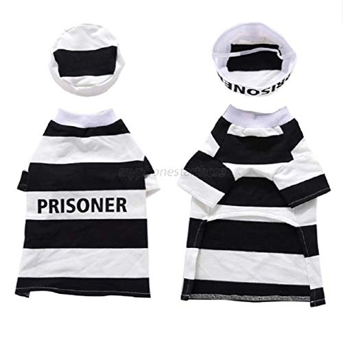 24/7 store Size M US Pet Dog Cat Hooded Prison Uniform Dress Up Party Halloween Clothes Costume