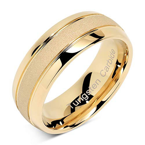 100S JEWELRY Tungsten Rings for Men Women Gold Wedding Band Sandblasted Finish Dome Edge Sizes 8-16 (13.5) (Sandblasted Platinum)