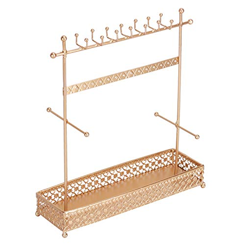 Yamfurvo Metal Jewelry Display Stand with Tray for Necklace, Earring, Bracelet, Watch, Gold (4 Tier Lace Tray)