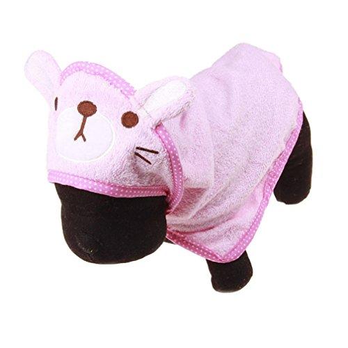 Mikey Store Pet Dog Bathrobes, Soft Pet Dog Cartoon Animal Bath Towel Cute Gift (Pink, M)