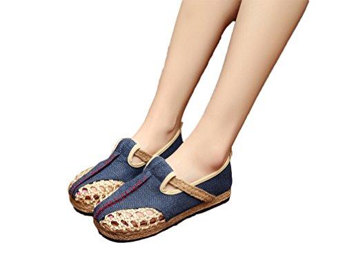 Ausom Womens Handmade Linen Round Toe Mesh Canvas Flats Sandals Shoes Blue Bdd8nAnW