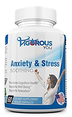 Super Strength Anti Anxiety and Stress Soothing. Anxiety Relief Positive Mental Attitude, Calmness, and Relaxation. Ashwaganha, 5-HTP, Gaba, B Vitamins, L-Theanine, Niacin