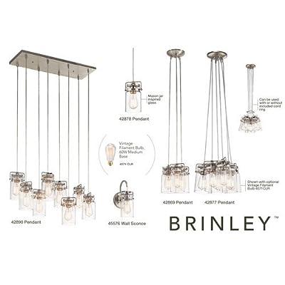 Kichler 42878 Brinley Single-Bulb Indoor Pendant with Jar-Style Glass Shade,
