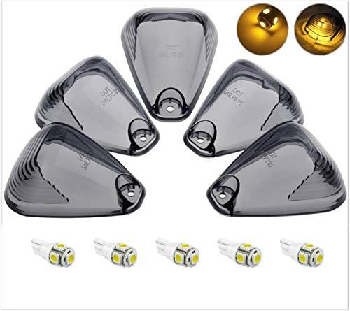 KOMAS 5X Smoked Roof Running Light Cab Marker Smoke Cover Lens + 5X T10 6-3020-SMD Amber LED Bulb for 1999-2016 Ford F150 F250 F350 F450 F550 E150 E250 E350 E450 E550 ()