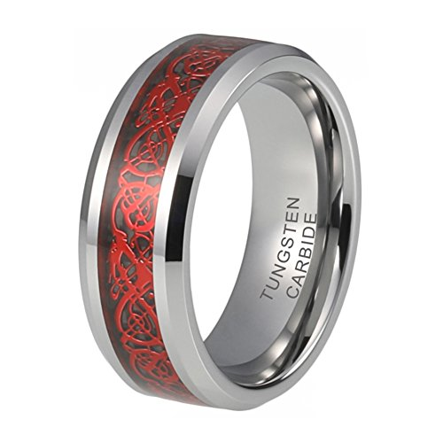 Men's Silver Tungsten Ring Wedding Band 8mm Red Celtic Dragon Inlay Polished Beveled Edges (12)