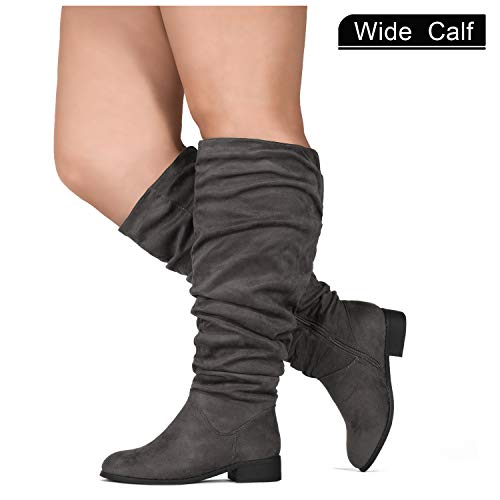 Extra Boot Wide Calf (RF ROOM OF FASHION Women's Slouchy Pull On Low Block Heel Knee High Boots (Wide Calf) Grey SU (8))