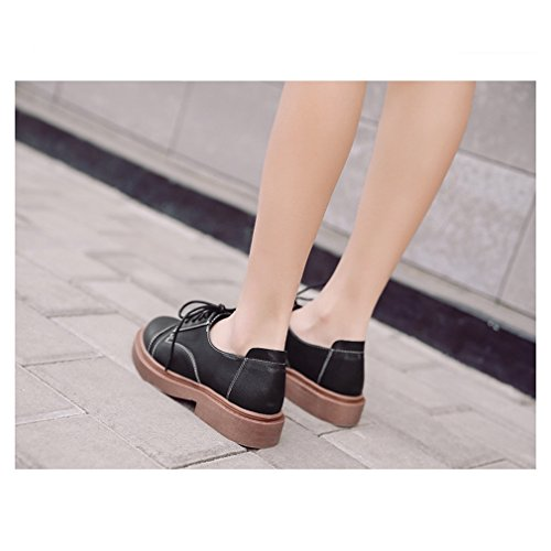 Hoxekle Mujeres Round Toes Suede Zapatos De Estilo Británico / Perforado / Vintage Oxford Zapatos Low Heel Black