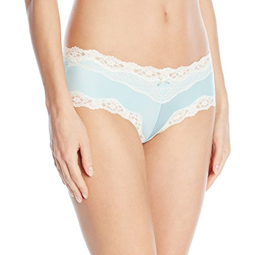 Maidenform Women's Modal Cheeky Hipster with Lace Panty, Tinted Aqua/Pop Dot Ivory, Medium/6