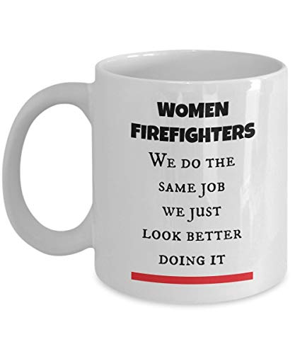 Lplpol Thin Red Line Firefighter Women Gifts Cup as Seen on Shirts Best Firewoman Coffee Tea Mug for Mom, Wife, Girlfriend or any Lady Who are Wear the Fire Department Costume and Use Fire Truck Gear]()