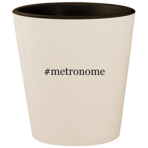 #metronome - Hashtag White Outer & Black Inner Ceramic 1.5oz Shot (Vintage Drum Practice Pad)