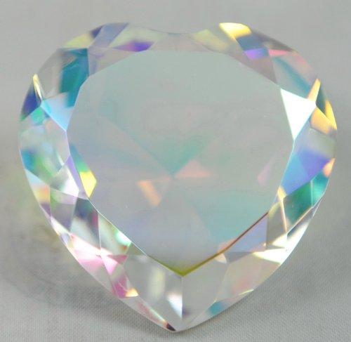 80 mm Crystal Diamond Jewel Paperweight Heart Translucent Rainbow