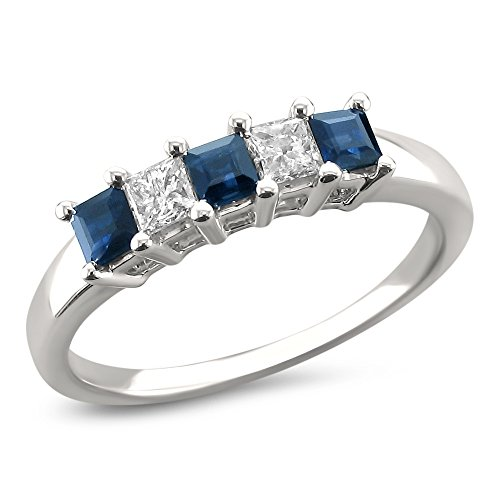 14k White Gold Princess cut Diamond & Blue Sapphire Bridal Wedding Band Ring (1/2 cttw, H I, I2 I3)