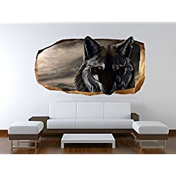 Startonight 3D Mural Wall Art Photo Decor Wolf Amazing Dual View Surprise Large Wall Mural Wallpaper for Living or Bedroom Room Cute Collection Wall Art 120 x 220 cm