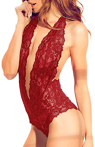 Womens Open Back Halter Plunging Teddy,Comfortable Scalloped Trim Lace Lingerie (S,Wine,6004e)
