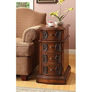 William's Home Furnishing 4821 Oak Side Table, Brown