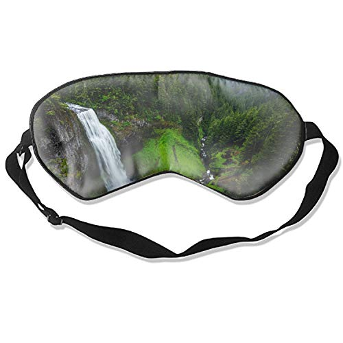 Sleep Mask, Mars Hill North Carolina Waterfall Silk Lightweight Breathable Comfortable Soft Eyeshade with Adjustable Head Straps for Women
