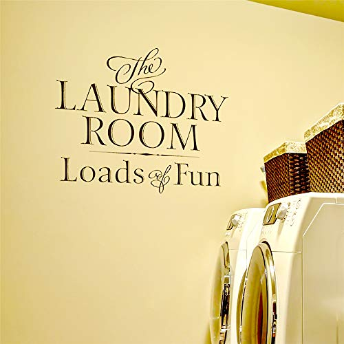 Oderio Wall Art Decal Sticker Words Wall Saying Words Removable Mural Nursery Kid Bedroom The Laundry Room Loads and Fun for Laundry Room