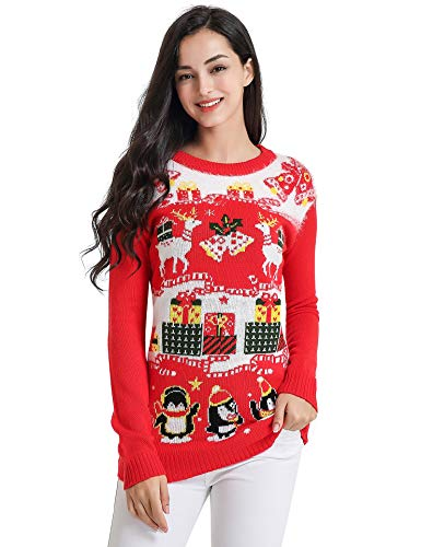 v28 Ugly Christmas Sweater, Women Feather Knit Xmas Reindeer Pullover Sweater (Large, Deer Penguin red)