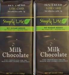 2 Trader Joe's Simply Lite No Sugar Added Milk Chocolate Candy Bar