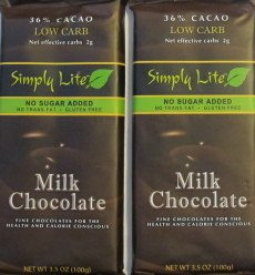2 Trader Joe's Simply Lite No Sugar Added Milk Chocolate Candy Bar ()
