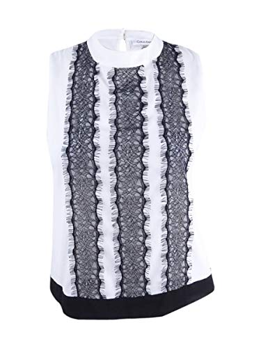 Calvin Klein Women's Petite Sleeveless Embroidered Top (PS, - Blouse Embroidered Petite