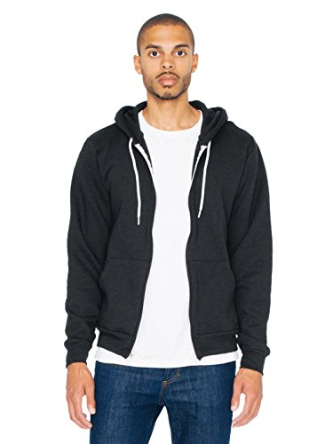 American Apparel  Unisex Flex Fleece Zip Hoodie, Black, Large